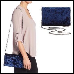 Chelsea28 Velvet & Chain Clutch Handbag Navy